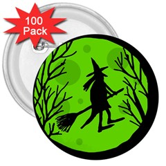 Halloween witch - green moon 3  Buttons (100 pack)