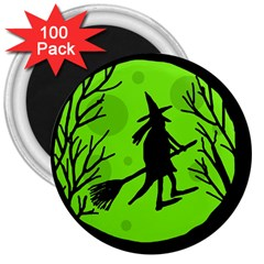 Halloween witch - green moon 3  Magnets (100 pack)