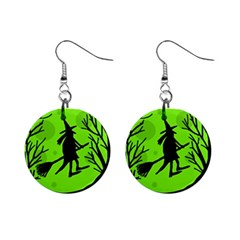 Halloween witch - green moon Mini Button Earrings
