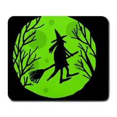 Halloween witch - green moon Large Mousepads