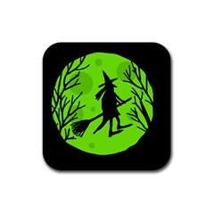 Halloween witch - green moon Rubber Coaster (Square)