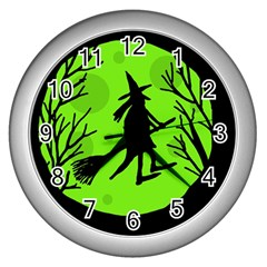 Halloween witch - green moon Wall Clocks (Silver)
