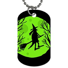 Halloween witch - green moon Dog Tag (One Side)