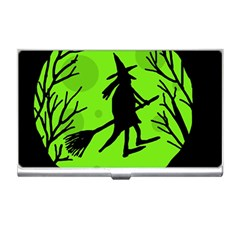 Halloween witch - green moon Business Card Holders