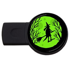 Halloween witch - green moon USB Flash Drive Round (2 GB)