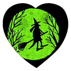 Halloween witch - green moon Jigsaw Puzzle (Heart)