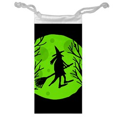 Halloween witch - green moon Jewelry Bags