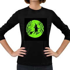 Halloween witch - green moon Women s Long Sleeve Dark T-Shirts