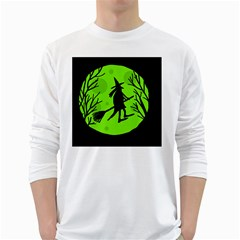 Halloween witch - green moon White Long Sleeve T-Shirts