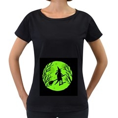 Halloween witch - green moon Women s Loose-Fit T-Shirt (Black)