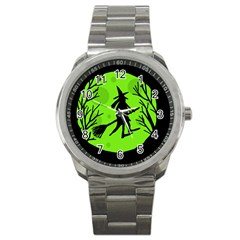 Halloween witch - green moon Sport Metal Watch