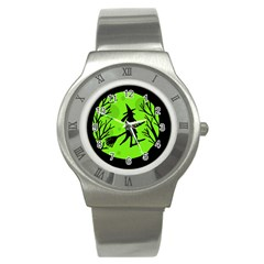 Halloween witch - green moon Stainless Steel Watch