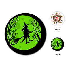Halloween witch - green moon Playing Cards (Round)