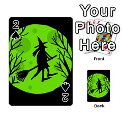 Halloween witch - green moon Playing Cards 54 Designs