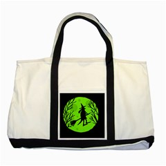 Halloween witch - green moon Two Tone Tote Bag