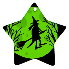 Halloween witch - green moon Star Ornament (Two Sides)