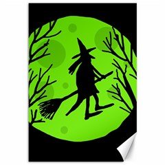 Halloween witch - green moon Canvas 12  x 18