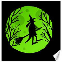 Halloween witch - green moon Canvas 16  x 16