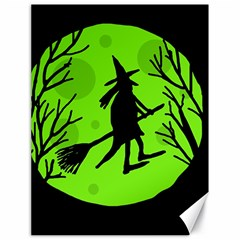Halloween witch - green moon Canvas 18  x 24