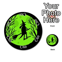 Halloween witch - green moon Playing Cards 54 (Round)