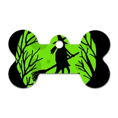 Halloween witch - green moon Dog Tag Bone (Two Sides)
