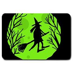 Halloween witch - green moon Large Doormat