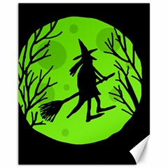 Halloween witch - green moon Canvas 11  x 14
