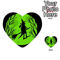 Halloween witch - green moon Multi-purpose Cards (Heart)