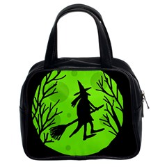 Halloween witch - green moon Classic Handbags (2 Sides)