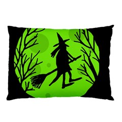 Halloween witch - green moon Pillow Case