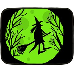 Halloween witch - green moon Double Sided Fleece Blanket (Mini)