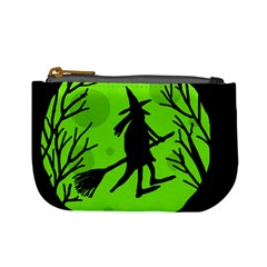 Halloween witch - green moon Mini Coin Purses