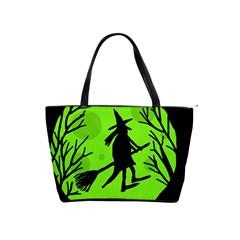 Halloween witch - green moon Shoulder Handbags