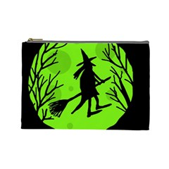 Halloween witch - green moon Cosmetic Bag (Large)