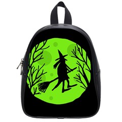 Halloween witch - green moon School Bags (Small)