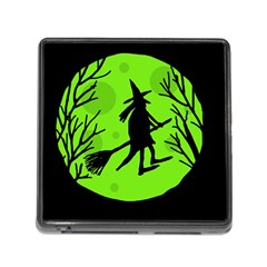 Halloween witch - green moon Memory Card Reader (Square)