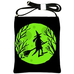 Halloween witch - green moon Shoulder Sling Bags