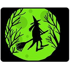 Halloween witch - green moon Fleece Blanket (Medium)