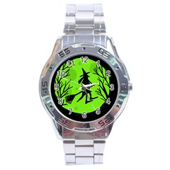 Halloween witch - green moon Stainless Steel Analogue Watch