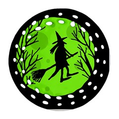 Halloween witch - green moon Round Filigree Ornament (2Side)
