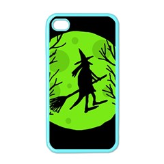Halloween witch - green moon Apple iPhone 4 Case (Color)