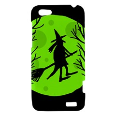 Halloween witch - green moon HTC One V Hardshell Case