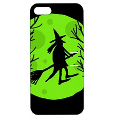 Halloween witch - green moon Apple iPhone 5 Hardshell Case with Stand