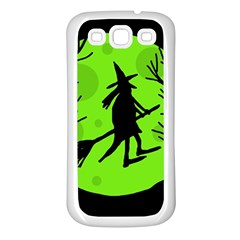 Halloween witch - green moon Samsung Galaxy S3 Back Case (White)