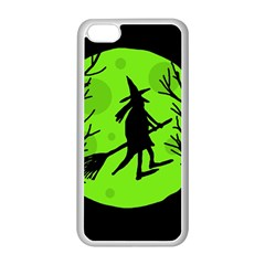 Halloween witch - green moon Apple iPhone 5C Seamless Case (White)