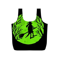 Halloween witch - green moon Full Print Recycle Bags (S)