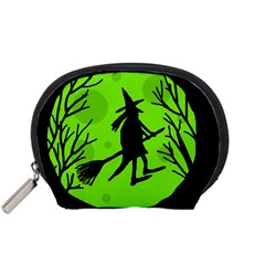 Halloween witch - green moon Accessory Pouches (Small)