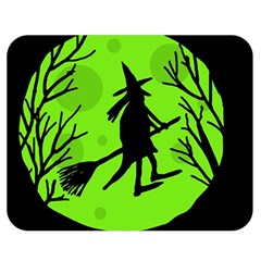 Halloween witch - green moon Double Sided Flano Blanket (Medium)
