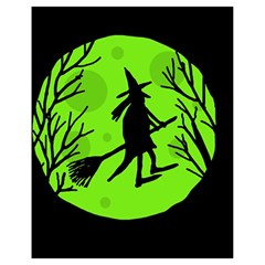 Halloween witch - green moon Drawstring Bag (Small)