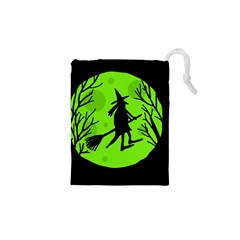 Halloween witch - green moon Drawstring Pouches (XS)
